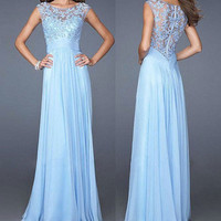 Chiffon Lace Sexy blue Slim Zipper Anniversary Dinner Prom Wedding Long Dress b78