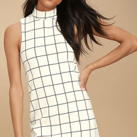 Chic By Design Cream Grid Print Dress