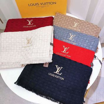 LV Popular Stylish Louis Vuitton Embroidery Warm Cashmere Cape Scarf Scarves Shawl Accessories