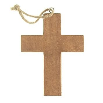 Hanging Wooden Cross Christmas Tree Ornament, Natural, 5-Inch