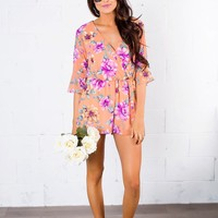 Peach/Purple Floral Romper