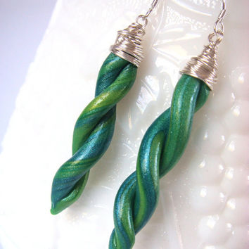 Green Earrings  Green and Blue Swirled Polymer Clay by JustClayin