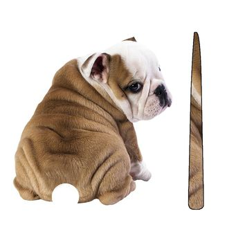 Funny English Bulldog MOVING TAIL CAR STICKER FOR WINDOW & WINDSHIELD WIPER