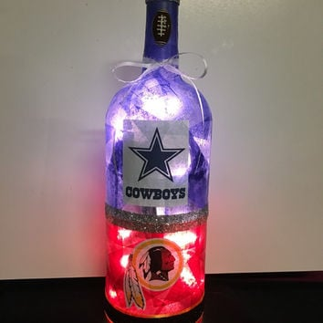 Dallas Cowboys Washington Redskins House Divided Wine Bottle Lamp