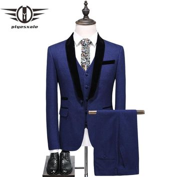 Blue Wedding Suits For Men Autumn Shawl Collar 3 Piece Men Tuxedo Jacket Pants Vest Slim Fit Male Prom Suit