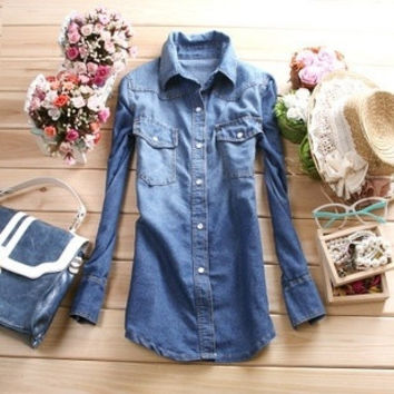 8811 fashion nostalgic vintage wash water gradient long-sleeve slim turn-down collar denim shirt female