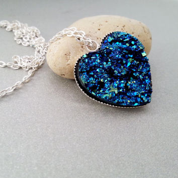 Silver long heart necklace faux druzy silver blue gift for her sparkling