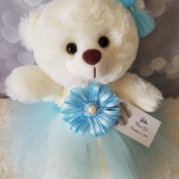 Girls Hanukkah Gift Teddy Bear in a Tutu Dress in your choice of color