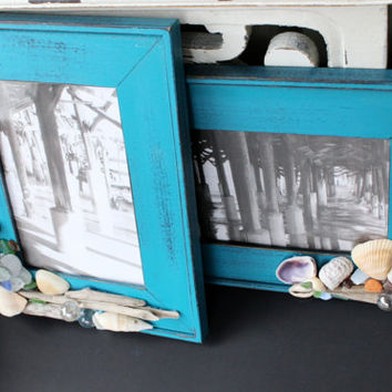 Sea Cottage Picture Frames With Sea Glass , Shell and Driftwood Embellishements Prettty Nautical Home Decor
