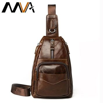 Vintage Genuine Leather Shoulder Bag Leather Men Chest Bag Small Men Messenger Bags For Man Crossbody Bags Casual Chest Pack