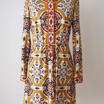 70s Dress | Vintage MR DINO MEDALLION Tapestry Print Knit Dress 1970s
