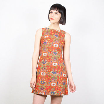 Vintage XS Dress 1960s Dress 60s Dress Paisley Print Baroque Print Micro Mini Dress Red Gold Blue Shift Dress Mod Scooter Dress Extra Small
