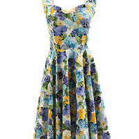 Blue Floral Sleeveless Halter Sheath A-line Mini Skater Dress