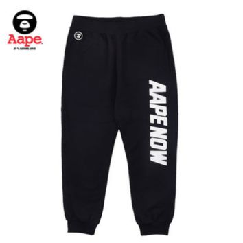 """Aape Now"" Unisex Sport Casual Letter Logo Print Sweatpants Couple Leisure Pants Trousers"