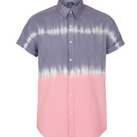 PURPLE AND PINK HORIZONTAL TIE DYE SHORT SLEEVE SHIRT