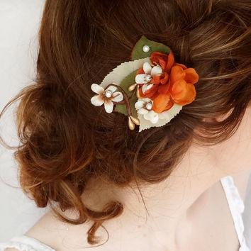 fall hair accessories burnt orange flower hair by thehoneycomb