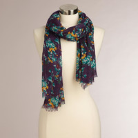 Navy and Gold Floral Scarf - World Market