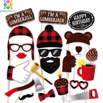 Lumberjack Photo Booth Props Kit Party Decoration 34 pcs