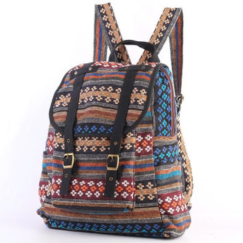 Woven Textile Backpack Diaper Bag, Student/ Travel/ College/ Teen/ Native Tribes