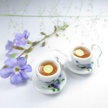 Floral Teacup Earrings - food jewelry