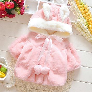 Winter Warm Cute Baby Girl Coat Bunny Hooded Batwing Toddler Girl Solid Rabbit Ears Coat
