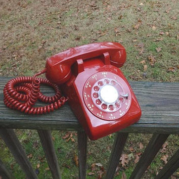 1974 Vintage RED Rotary Dial Telephone by Bell System, Western Electric, Curly Cord, Fabulous Condition, Vintage Phone, Vintage Technology