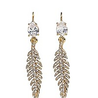 Pave Feather Drop Earring