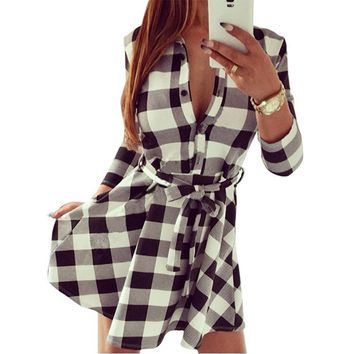 Women Check Tartan Plaid Mini Bandage Dress 3/4 Sleeve Jumper Shirt Dresses Tops LL2