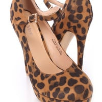 Leopard Closed Toe Mary Jane High Heels Faux Suede