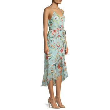 Alice And Olivia Mable Midi Mock-Wrap Floral Print 100% Silk Dress Size L