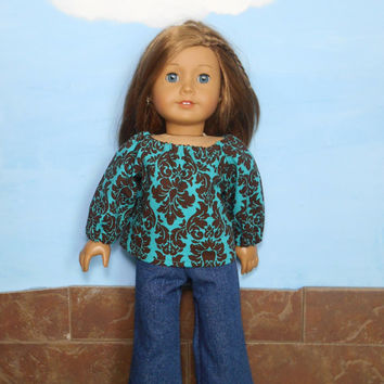 18 Inch Doll Clothes, Blue Jeans and Prairie Shirt, Long Sleeved Aqua Green and Brown Prairie Shirt with Jeans, fits American Girl Dolls
