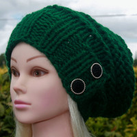 Knit Hat Womens Hat Slouchy Hat in Forest Green-Beanie Hat-Womens Accessories