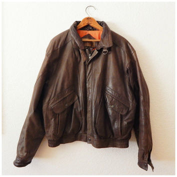 Vintage 1930s Style Leather Bomber JACKET AVIATOR Biker Motorcycle Luftwaffe 44