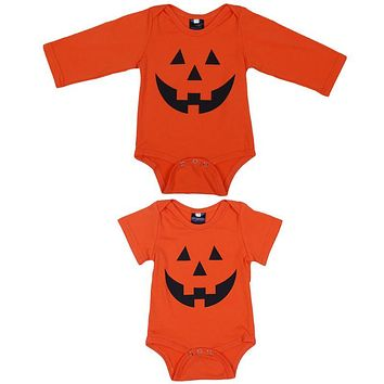 Baby Novelty Jumpsuit Infant Boys Girls Halloween Outfit Garment Baby Pumpkin Design Cotton Bodysuit Newborn Party Playsuits