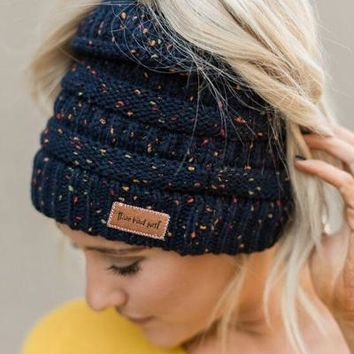 Messy Bun Knitted Beanie - Confetti Navy