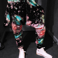 SpaceBalls Space Jam PASTEL Galaxy Harem DROP CROTCH Pants With Pockets - Limited Edition Xsmall Small Medium or Large XLarge