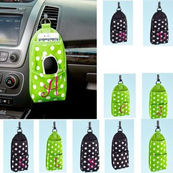 Monogram Car Vent Organizer Cell Phone Sunglasses Polka Dots - Green or Black