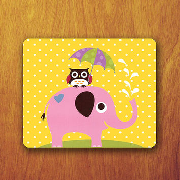 Funny Baby Elephant and Owl Cartoon Mouse Pad Yellow Polka dot Wallpaper Cute Office Deco Desk Pad Personalized Custom Gift for Friend