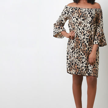 Leopard Print Off The Shoulder Shift Dress