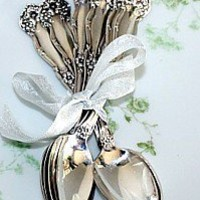 Set of 6 Antique Silver Floral Miniature Teaspoons