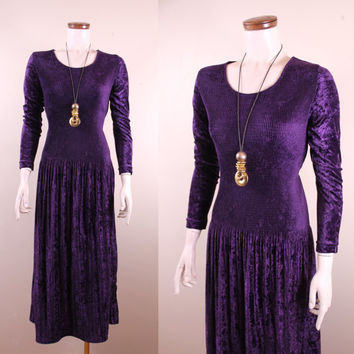 Vintage - 90s - Eggplant Purple - Crushed Velvet - Smocked - Drop Waist - Long Sleeve - Maxi Dress