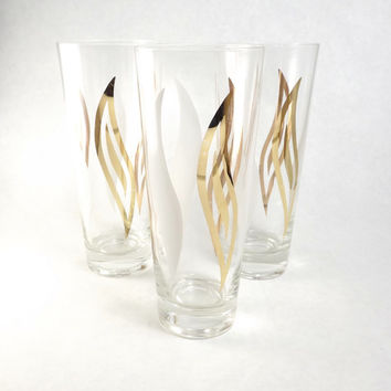 Mod White and Gold Beer Glasses, Set of 3 Flame Swirled Tall Bar Tumblers, Vintage Drinking Glasses