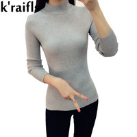 k'raifls New Fashion Women Turtleneck Knitted Sweater Female Knitted Slim Pullover Ladies Basic Thin Long Sleeve Clothing