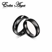 Endless August Couple Rings For Women Men Black Wedding Ring for Lover CZ Couple Ring 316l Stainless Steel Engagement Jewelry