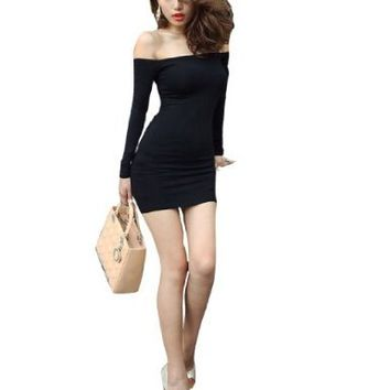 Women Off Shoulder Long Sleeve Stretchy Tunic Shirt Black XS