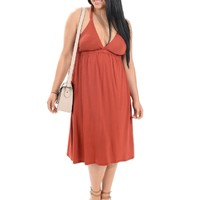 Rust Festival Style Racerback Dress | $14.50 | Cheap Trendy Casual Dresses Chic Discount Fashion fo