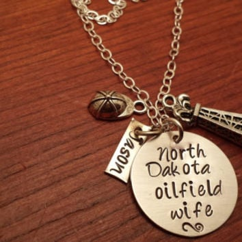 "Hand stamped personalized oilfield necklace ""North Dakota (can use any state) oilfield wife"" with derrick"