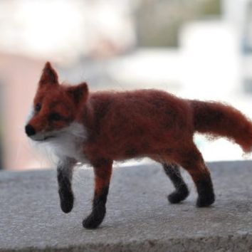 Needle Felted  Wool Animals  foxneedle felt by by darialvovsky