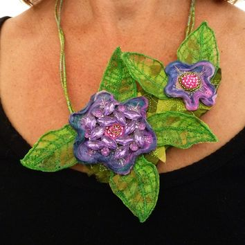 Modern Fashion Art Necklace. Silk Fiber pendant or bib.  Flora Aborealis with Vintage Brooch