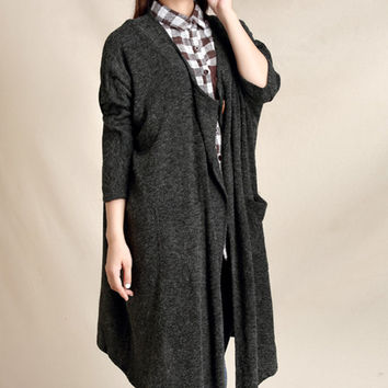 Long rabbit fur gray plus size knitted cardigan (ESR147)